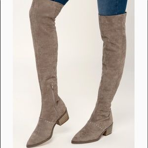 NWOT ZARIA TAUPE SUEDE OVER THE KNEE BOOTS